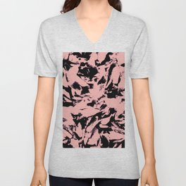 Old Rose Black Abstract Military Camouflage Unisex V-Neck