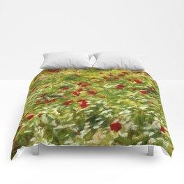 Impressionist Poppies Comforters