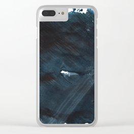 Dark slate gray blurred watercolor pattern Clear iPhone Case