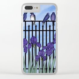 purple martins & purple irises Clear iPhone Case
