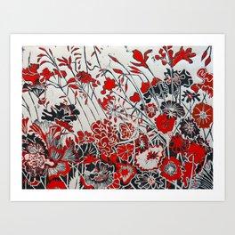 Woodcut Flowers in Red Art Print