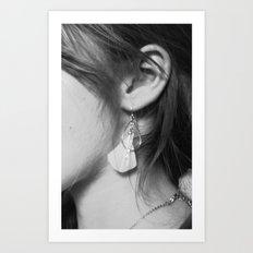 Black/White: Earrings Art Print