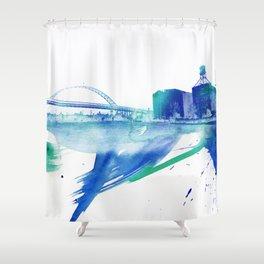 PDX Watercolor 2- Fremont Bridge Shower Curtain