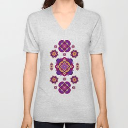 Mandala-Purple and Pink Unisex V-Neck