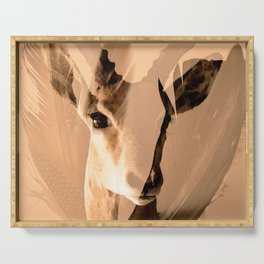 Beautiful and fast - Impala portrait Serving Tray