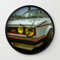 volkswagen Wall Clocks featuring Volkswagen Golf Vintage by Eduard Leasa Photography