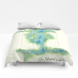 Go Home Lake - Nature Map Comforters