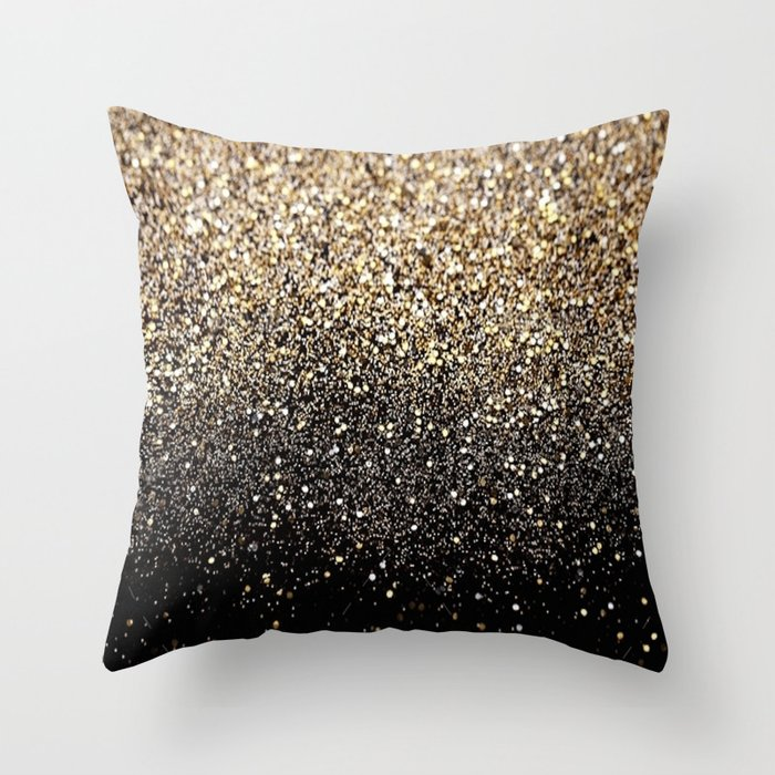 Black & Gold Sparkle Throw Pillow by ldor