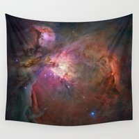nasa Wall Tapestries featuring Bright nebula stars pink galaxy geeky hipster cool Nasa nebulae space photograph by iGallery
