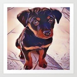 Rottweiler Puppy Born To Be Wild Art Print