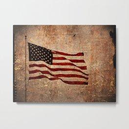 Rural American Flag Painting - A Vintage Patriotic Piece Metal Print
