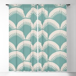 Japanese Fan Pattern Foam Green and Beige Blackout Curtain