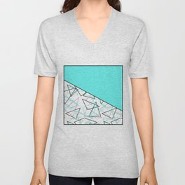 Abstract turquoise combo pattern . Unisex V-Neck