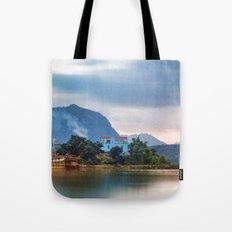 Painted Blue House Landscape Tote Bag