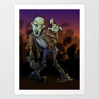zombie Art Prints featuring ZOMBIE! by Billy Allison