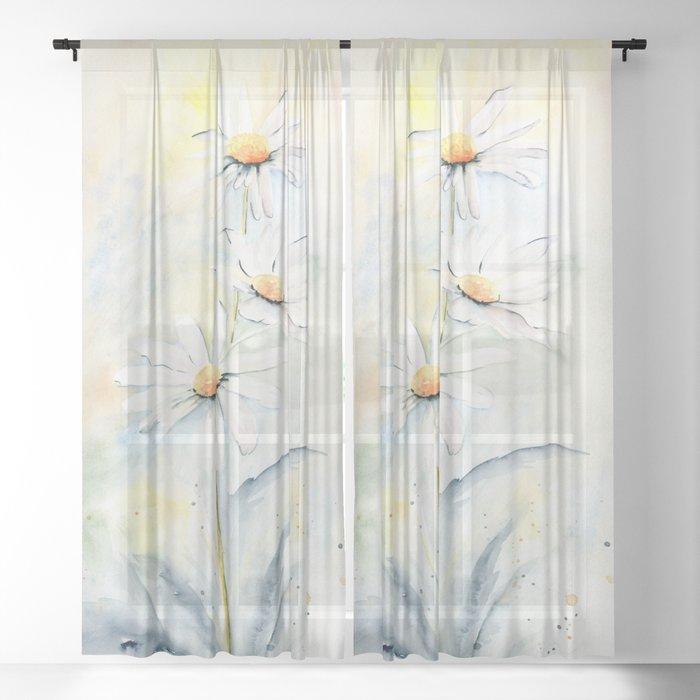White Daisies Sheer Curtain