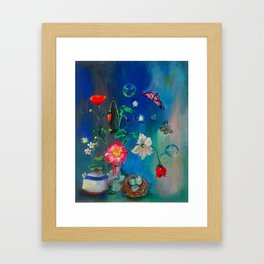 Flowers in Cobalt Framed Art Print