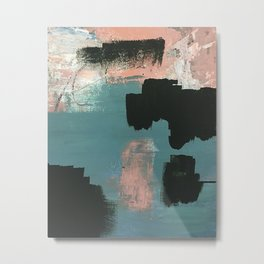 Wander: an abstract mixed media piece in pink teal green and white Metal Print