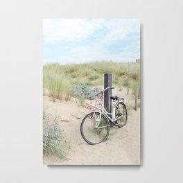 Seaside Bicycle Metal Print