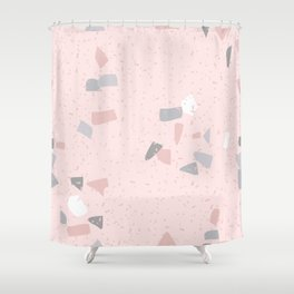 Blush terrazzo with gray and white spots Shower Curtain