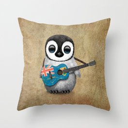 Baby Penguin Playing Turks and Caicos Flag Guitar Throw Pillow