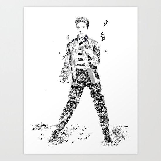 Elvis Presley Jailhouse Rock Text Portrait (Black and White) Art Print