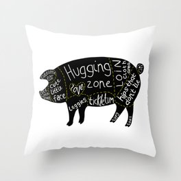Cuts of Pig Throw Pillow