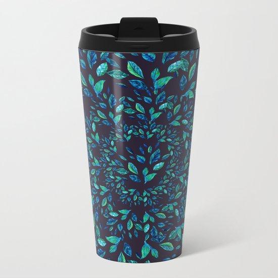 Blue Leaves Mandala Metal Travel Mug