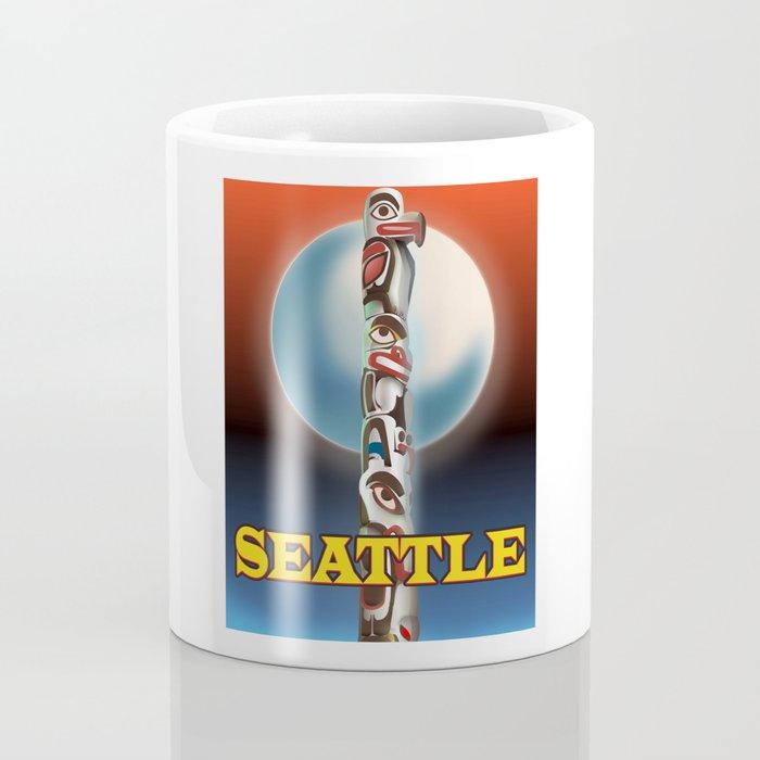 Seattle Totem pole travel poster Coffee Mug