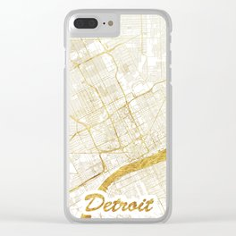 Detroit Map Gold Clear iPhone Case