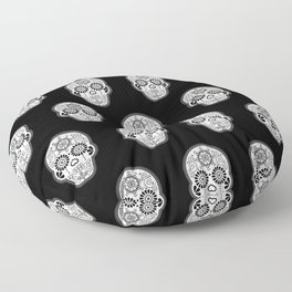 Día de Muertos Calavera • Mexican Sugar Skull – White on Black Palette Floor Pillow