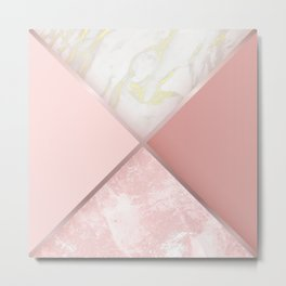 Geometric Nude Watercolor Marble Metal Print