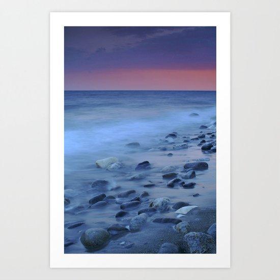 Blue stones at the sea Art Print