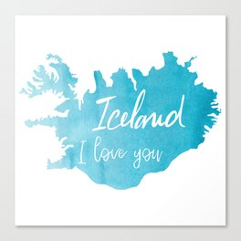 Iceland I love you - ice version Canvas Print