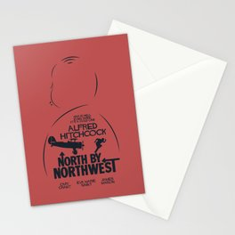 North by Northwest, Alfred Hitchcock, minimal movie poster, classic film, Cary Grant, alternative Stationery Cards