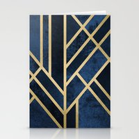 deco Stationery Cards featuring Art Deco Midnight by Elisabeth Fredriksson