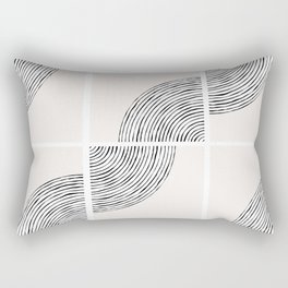 Threads; Black, White and Neutral Tile Pattern Rectangular Pillow