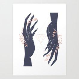 Conjuring hands Art Print