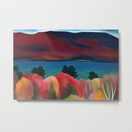 Lake George, New York in full bloom Autumn Colors - Red Maple Foliage landscape by Georgia O'Keeffe Metal Print