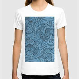 Cornflower Blue Tooled Leather T-shirt