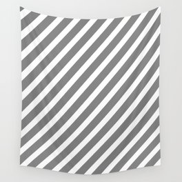 Grey Diagonal Stripes Wall Tapestry