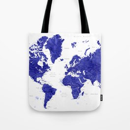 """Navy blue watercolor world map with cities, """"Ronnie"""" Tote Bag"""