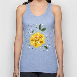 Abstract Yellow Primrose Flower Unisex Tank Top