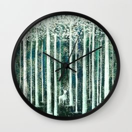 Christmas Stag in the jungle handpainted Wall Clock