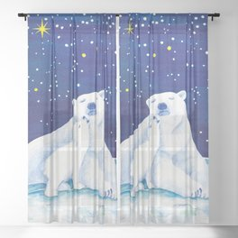 Polar bears, arctic animals Sheer Curtain