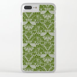 Stegosaurus Lace - Green Clear iPhone Case