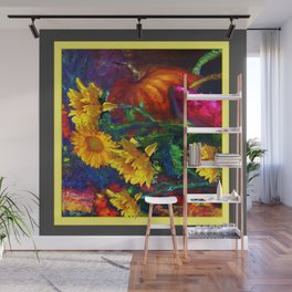 Sunflowers & fruit Fall Still Life Painting Wall Mural