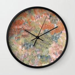 Pastel Garden in Orange and Green Wall Clock