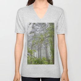 Foggy morning into the dream forest Unisex V-Neck