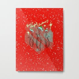 Purrfect Mid Century Christmas - Red White and Green Palette Metal Print